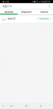 Arlo APP - Android - Schermata modalità e dispositivi