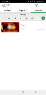 Arlo APP - Android - Schermata home video su cloud