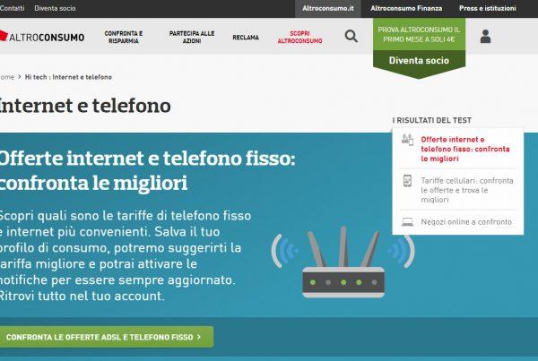 AltroConsumo.it comparatore miglior tariffa internet e telefono