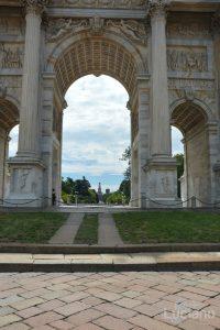 Milano - Arco della Pacem, vista su castello sforzesco - Lombardia - Italia