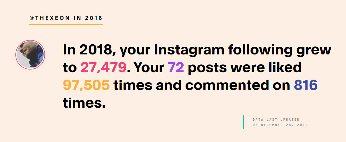 INSTAGRAM: Luciano Blancato (@thexeon) - 2018 - review. In 2018, instagram grew 27479; 72 posts; 97505 like's; 816 comment's