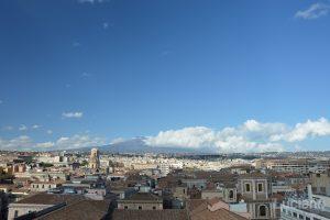 Vista dell'Etna, della cupola della Chiesa di San Michele ai Minoriti dalla Chiesa della Badia di Sant'Agata, durante i festeggiamenti per Sant'Agata 2019 - Catania (CT)