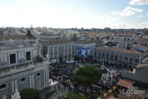 Vista di piazza duomo e del liotro dalla cupola della Chiesa della Badia di Sant'Agata, durante i festeggiamenti per Sant'Agata 2019 - Catania (CT)