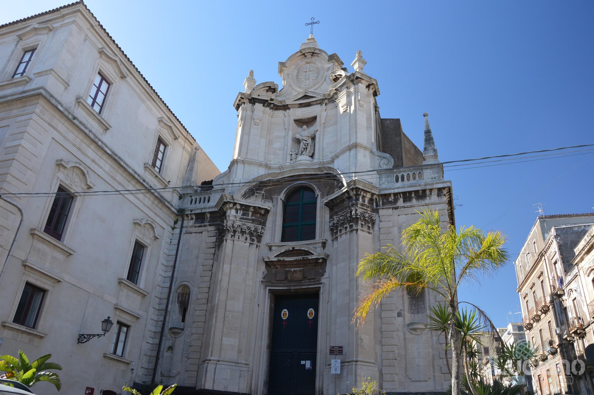 Facciata della chiesa di san camillo dei crociferi, durante i festeggiamenti per Sant'Agata 2019 - Catania (CT)
