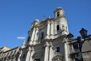 Facciata della Chiesa di San Francesco d'Assisi all'Immacolata, durante i festeggiamenti per Sant'Agata 2019 - Catania (CT)