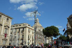 Vista della cupola della Chiesa della Badia di Sant'Agata e piazza duomo, durante i festeggiamenti per Sant'Agata 2019 - Catania (CT)