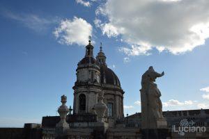 Vista della cupola del duomo, dalla Chiesa della Badia di Sant'Agata, durante i festeggiamenti per Sant'Agata 2019 - Catania (CT)