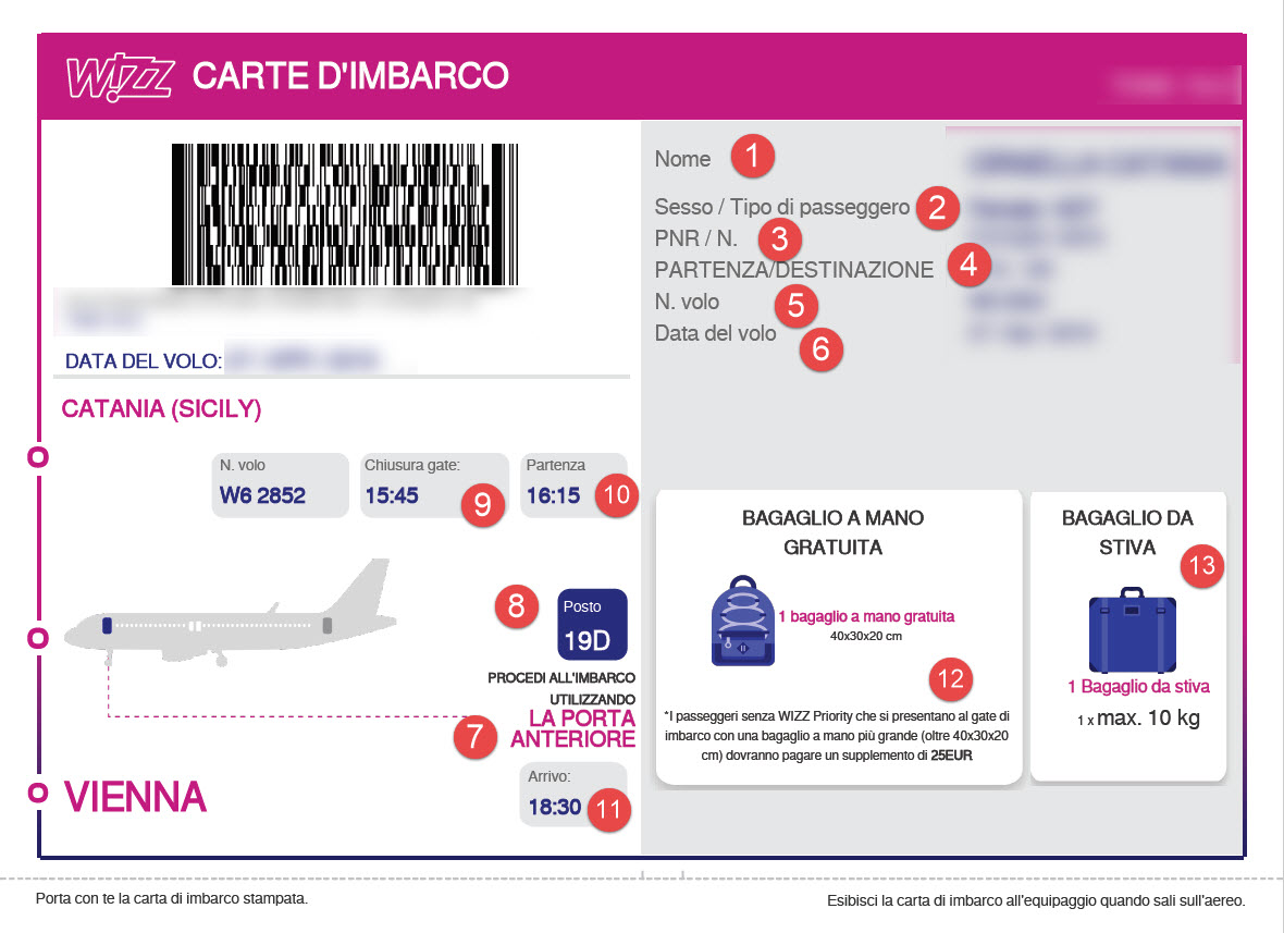 Sito Web Wizz Air - Come fare il check-in on line. Step 3: boarding pass/carta d'imbargo - dettaglio